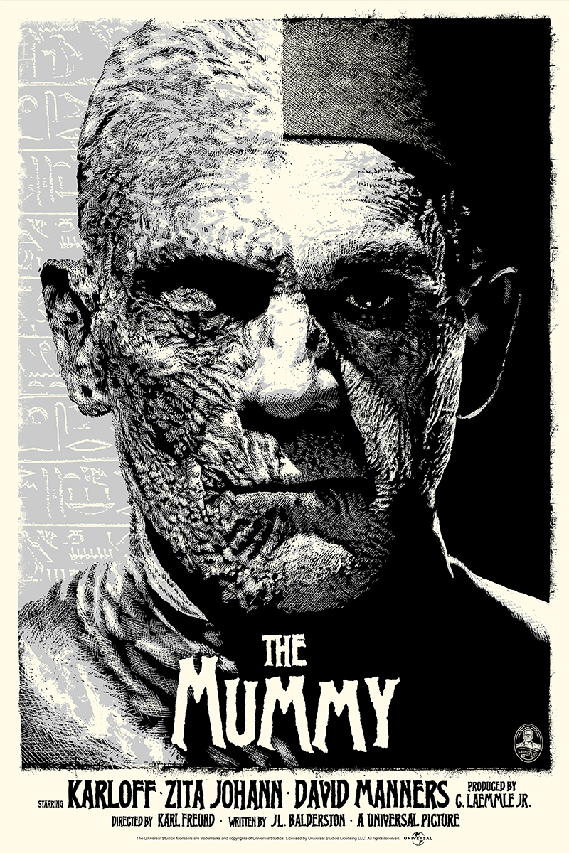 "「ミイラ再生(シルバー)」 The Mummy (Silver)  by ElvisDead.  24""x36"" screen print. Hand numbered.  Edition of 125.  Printed by D&L Screenprinting.  US$45"