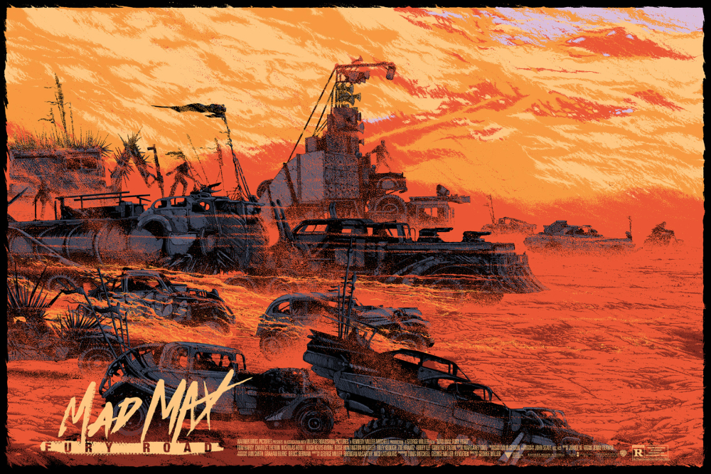 """「マッドマックス 怒りのデス・ロード」 Mad Max: Fury Road  by Kilian Eng.  36""""x24"""" screen print. Hand numbered. Edition of 375.  Printed by D&L Screenprinting.  US$50"""