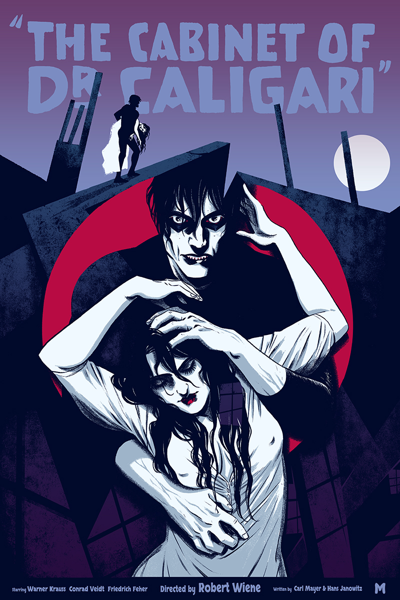 "「カリガリ博士(バリアント)」 The Cabinet of Dr. Caligari (Variant)  by Becky Cloonan.  16""x24"" screen print. Hand numbered.  Edition of 125.  Printed by D&L Screenprinting.  US$60"