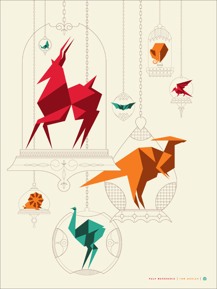 "Pulp Menagerie  by Tom Whalen.  18""x24"" screen print. Signed & Hand numbered.  Edition of 125.  Printed by D&L Screenprinting.  US$40"