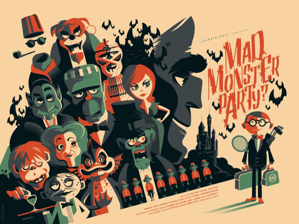 """「怪物の狂宴(バリアント)」 Mad Monster Party  (Variant)  by Tom Whalen.  24""""x18"""" screen print. Signed & Hand numbered.  Edition of 125.  Printed by D&L Screenprinting.  US$65"""