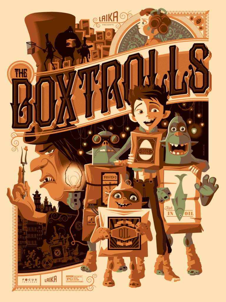 "「ボックストロール」 The Boxtrolls  by Tom Whalen.  18""x24"" screen print. Signed & Hand numbered.  Edition of 275.  Printed by D&L Screenprinting.  US$45"