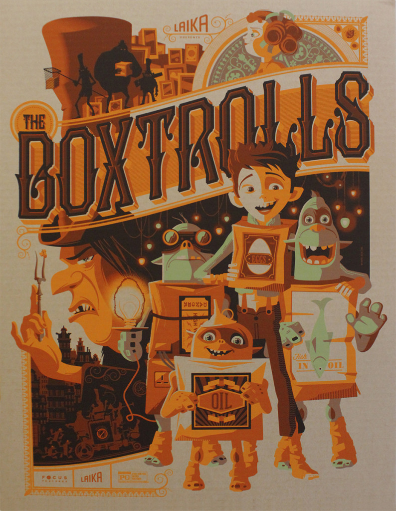 "「ボックストロール」 The Boxtrolls  (Cardboard Variant)  by Tom Whalen.  18""x24"" screen print. Signed & Hand numbered.  Edition of 65.  Printed by D&L Screenprinting.  US$65"