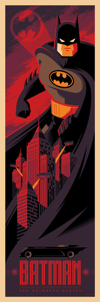 "「バットマン(アニメーション)」 Batman: The Animated Series  by Tom Whalen. 12""x36"" screen print.  Signed & Hand numbered. Edition of 275.  Printed by D&L Screenprinting.  US$45"