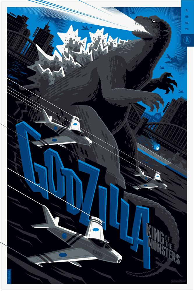 "「ゴジラ(1954)」バリアント Godzilla (Variant)  by Tom Whalen.  24""x36"" screen print.  Signed & Hand numbered.  Edition of 125.  Printed by D&L Screenprinting.  US$75"