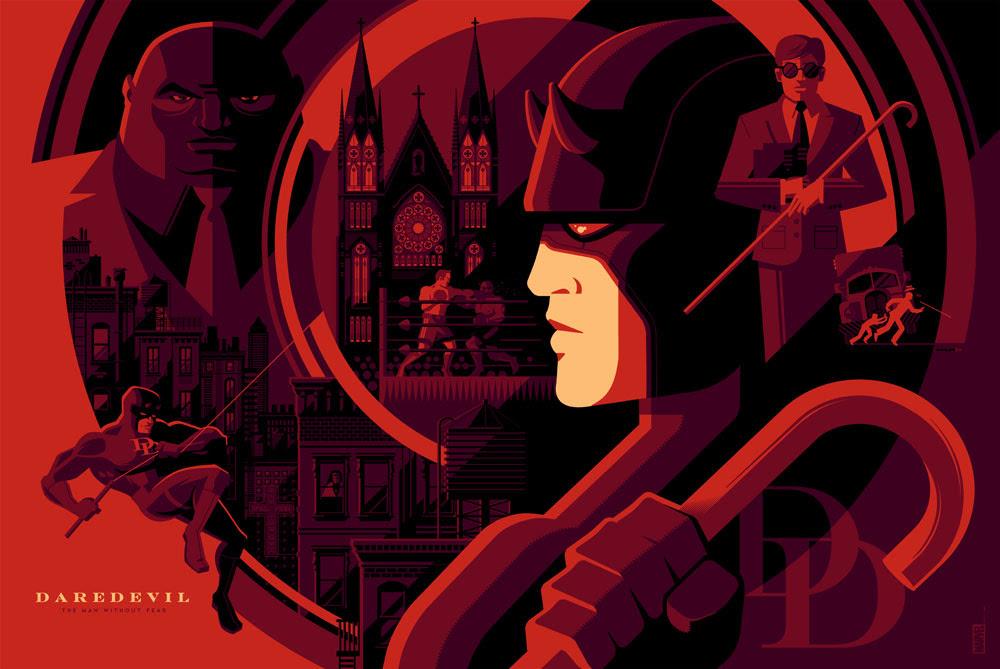 """「デアデビル」 Daredevil  by Tom Whalen.  36""""x24"""" screen print.  Signed & Hand numbered.  Edition of 275.  Printed by D&L Screenprinting.  US$50"""
