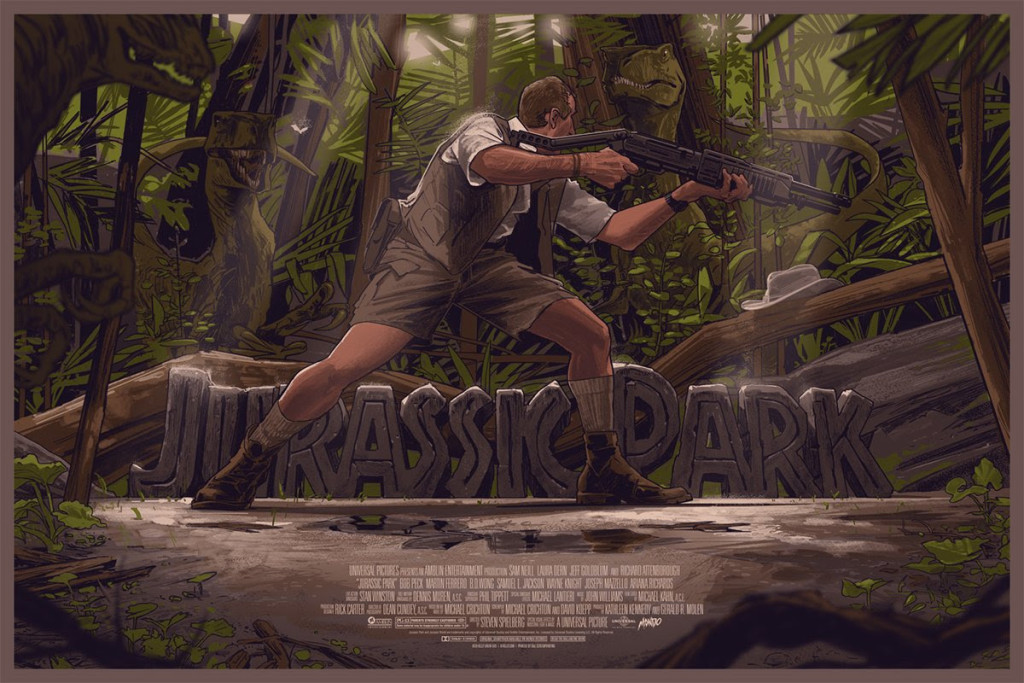 "「ジュラシック・パーク」 Jurassic Park  by Rich Kelly.  36""x24"" screen print.  Hand numbered. Edition of 325.  Printed by D&L Screenprinting.  US$50"