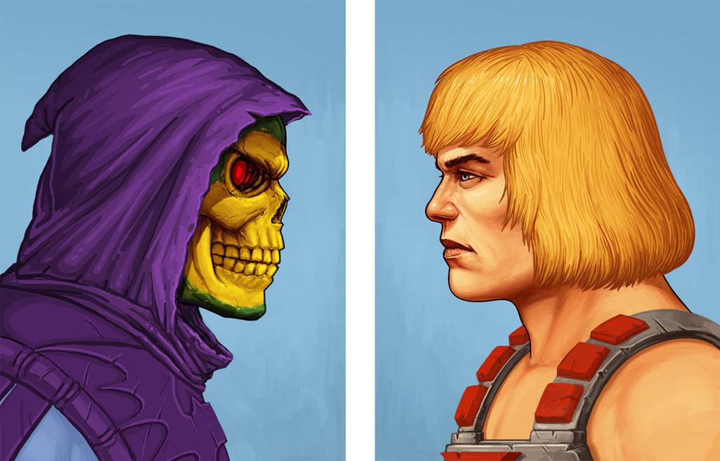 """「ヒーマン」「スケルター」ポートレート He-Man Portrait / Skeletor Portrait  by Mike Mitchell (2 prints) 12"""" x 16""""  Editions of 165"""