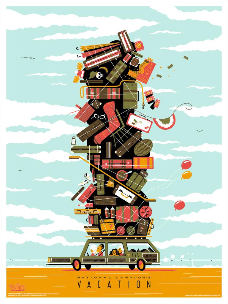 """「ホリデーロード4000キロ」 National Lampoon's Vacation  by Andrew Kolb.  18""""x24"""" screen print.  Hand numbered. Edition of 200.  Printed by D&L Screenprinting.  US$40"""