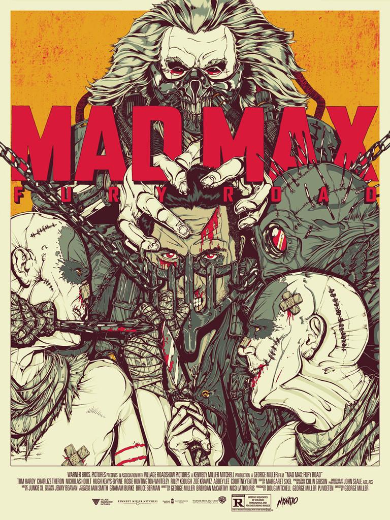 """「マッドマックス 怒りのデス・ロード」 Mad Max: Fury Road By Boneface 24""""x18"""" Edition of 250"""